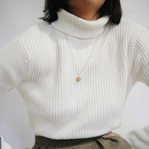 SALE Cream High Neck Cable Knit  Ribbed Sweater